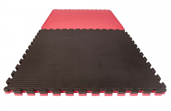 Reversible Jigsaw Mat Econo Tatami 1 x 1 m x 4 cm black/red