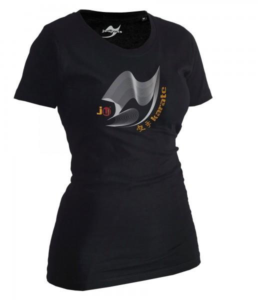 Karate-Shirt Moiré schwarz Lady