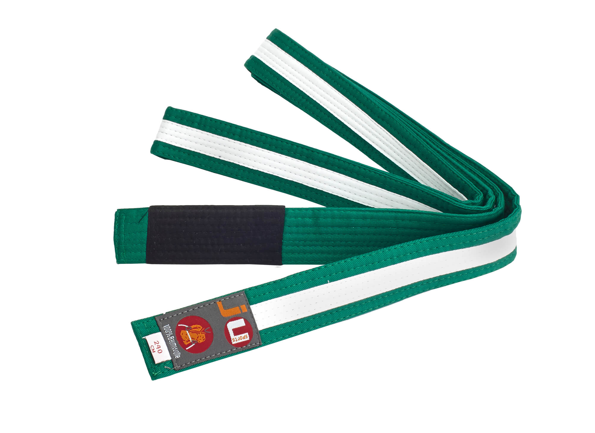 Striped Kids' BJJ Belt green/white/green