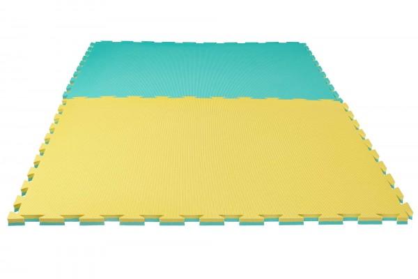 """Puzzlematte Pro """"Grappling"""" 2 cm Crosstexture gelb/grün Wendematte"""