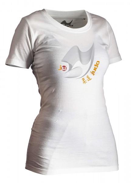 Judo-Shirt Moiré weiß Lady
