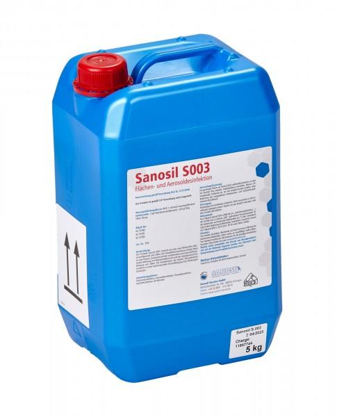 (13,99 €/1 l) Sanosil S003, Desinfektionsmittel 5 kg Kanister inkl. Sprayer