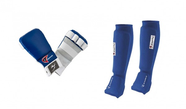 Ju-Jutsu Schützer-Set blau, Hand- und Fußschutz