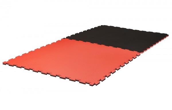 """Puzzlematte Pro """"Grappling"""" 2 cm Crosstexture schwarz/rot Wendematte"""
