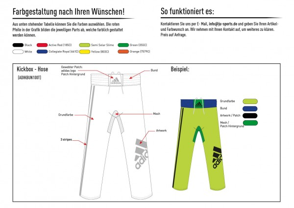 adidas Kickbox-Hose nach Kundenwunsch, adiKBUN100T
