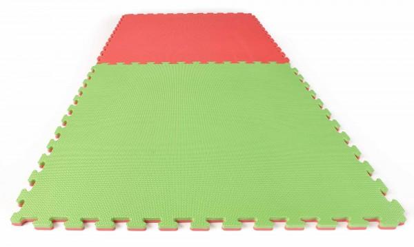 Puzzlematte Econo 2 cm Crosstexture rot/grün Wendematte
