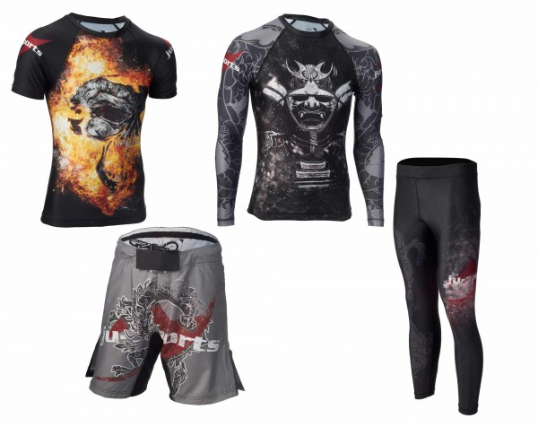 "Dark Line Superset: Rash Guard ""Kabuto"" + Rashguard ""Skull"" + Fightshorts + Spats"