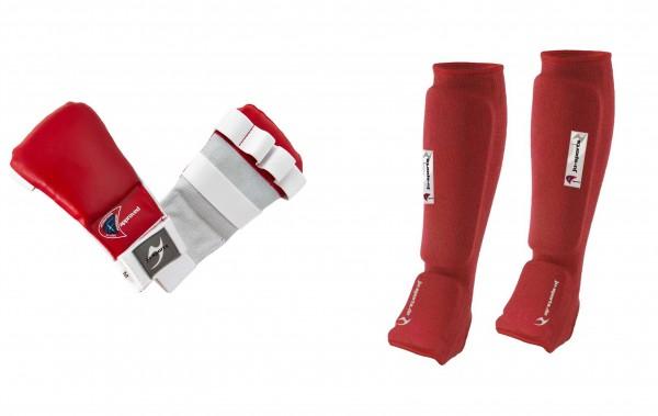Ju-Jutsu Schützer-Set rot, Hand- und Fußschutz