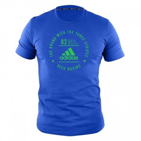 adidas Community Line T-Shirt Kickboxing blue/shock lime, adiCL01KB