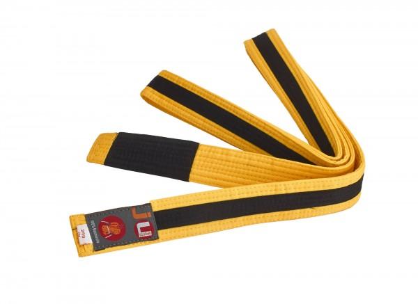Bjj Kindergürtel gelb mit schwarzem Streifen
