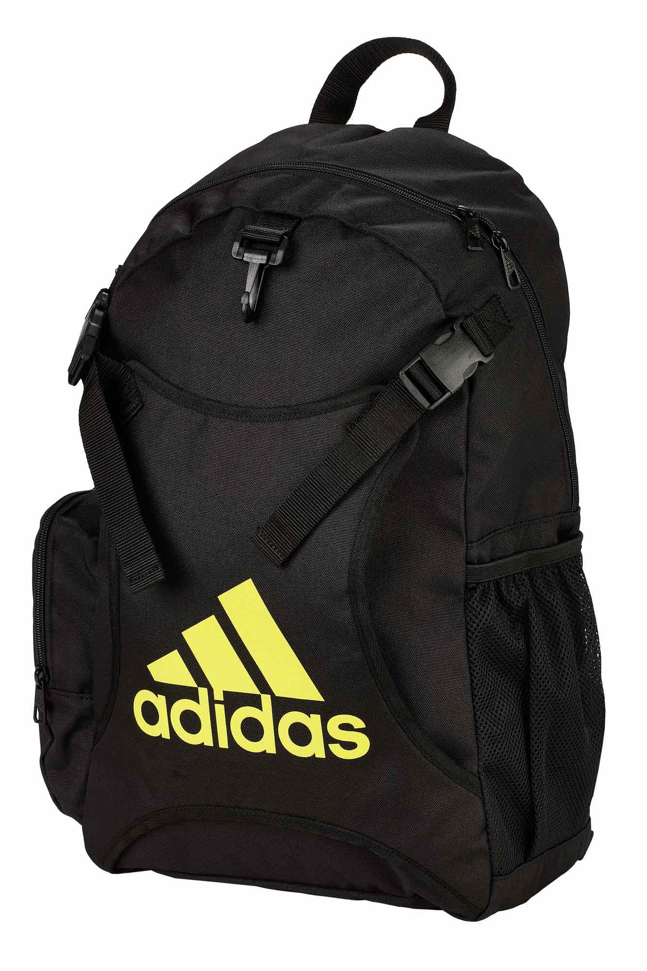 good texture footwear new cheap adidas backpack Taekwondo with body guard holder ADIACC096 black/schock  yellow