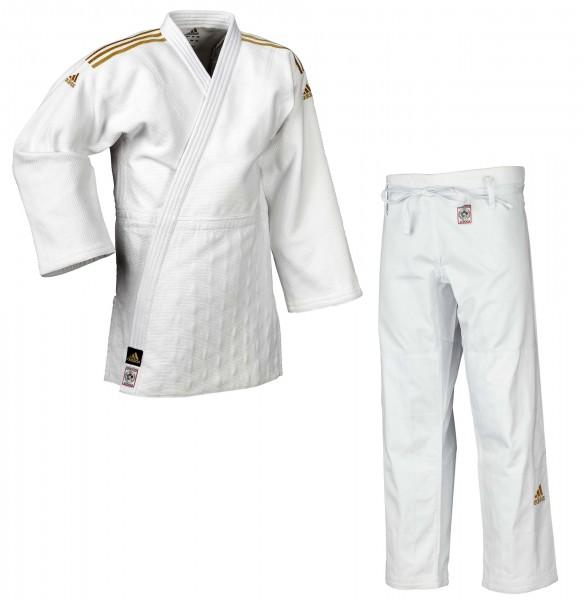 "adidas Judoanzug ""CHAMPION II"" IJF, weiß/goldene Streifen, JIJF"