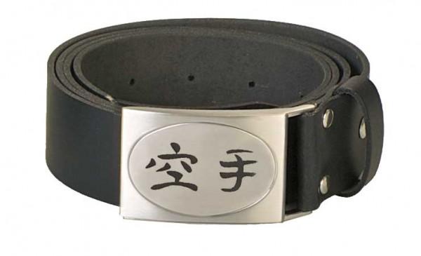 Gürtel echt Leder mit graviertem Kanji Karate