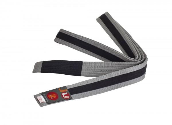 Bjj Kindergürtel grau mit schwarzem Streifen