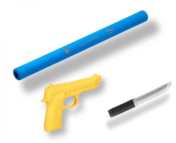 Ju-Jutsu Waffenset 2: Soft-Stick, Gummimesser, Gummipistole