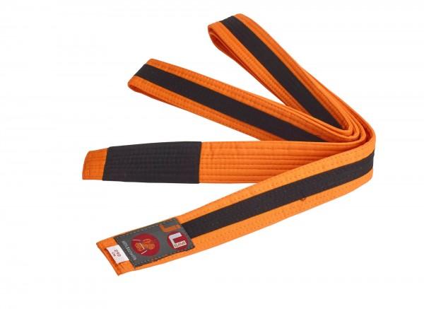 Bjj Kindergürtel orange mit schwarzem Streifen