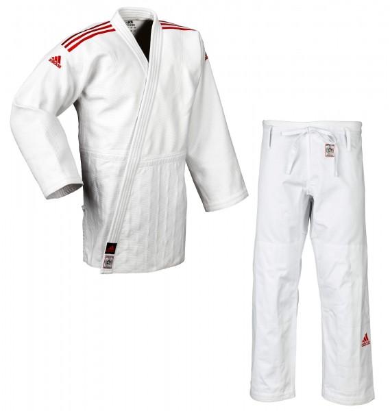 """adidas Judoanzug """"CHAMPION II"""" IJF, weiß/rotes Logo, JIJF"""