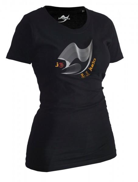 Judo-Shirt Moiré schwarz Lady