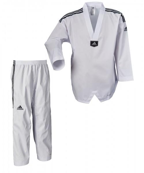 adidas Taekwondoanzug, adi Fighter Eco mit Streifen, weißes Revers