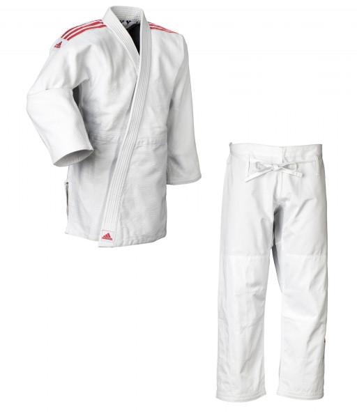 "adidas Judo-Anzug ""Quest"" weiß/rote Streifen, J690"