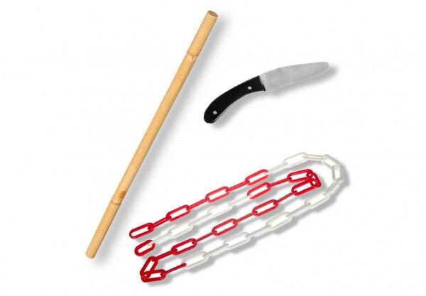 Ju-Jutsu Waffenset 1: Bambusstock, Alumesser, Kette (1. Kyu)